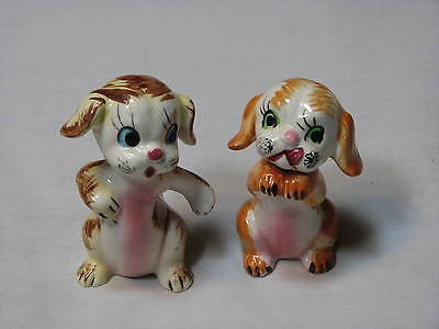 Ceramic Vintage Mid Century Dog animal salt and pepper shakers set 2 Small Puppy