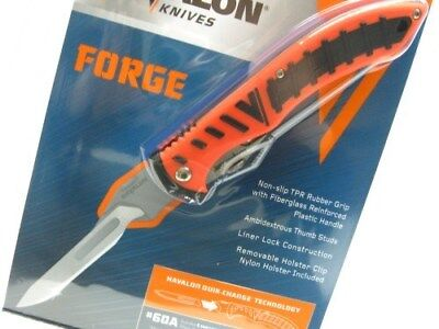 HAVALON Black Orange FORGE Folding HUNTING Knife + Sheath + 6 Blades! 60ARHO