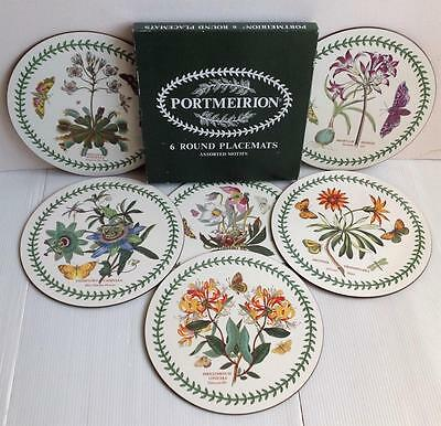 "Boxed Set 6 PORTMEIRION BOTANIC GARDEN 9.5"" Round Table/Place Mats Placemats VGC"