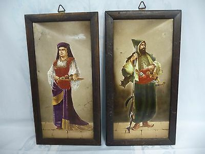Pair Of 19Th Century Ottoman Hand Painted Porcelain Plaques - Framed & 1 Signed