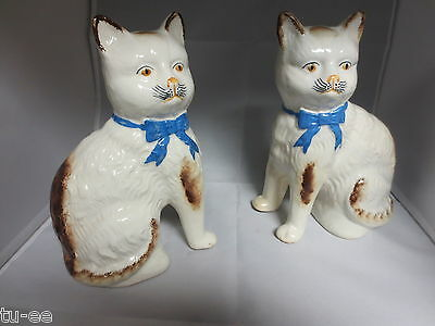 """Vintage Pair of 8"""" high  Pottery Cats Blue ribbon bows No makers marks England ?"""