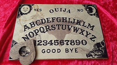 Wooden Ouija Board Magic Stained Skull & Planchette Instructions Ghost ESP