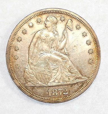 BARGAIN 1872 Liberty Seated Dollar ALMOST UNCIRCULATED/UNC Silver $