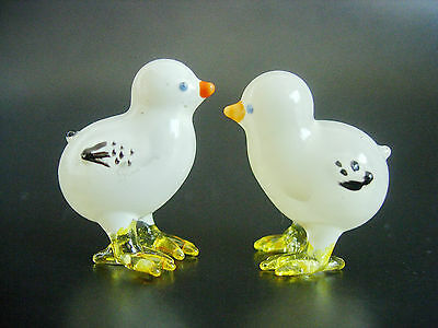 2 Tiny White BABY Glass CHICKS Miniature CHICKENS Farm Yard Animal Ornament Gift