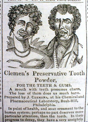 TheBEST 1828 illustrated DENTAL TOOTH PASTE AD showing good & bad teeth DENTIST