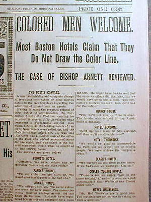2 BEST 1896 Boston Post headline newspapers NEGROES NOT WELCOME in BOSTON HOTELS