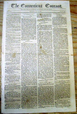 <1795 newspaper w front page SMALL POX INOCULATION ADVERTISEMENT Ellington CT