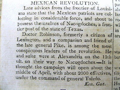 1814 newspaper early TEXAS REVOLUTION - MEXICO / AMERICAN expedition NACOGDOCHES