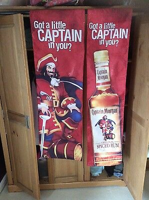CAPTAIN MORGAN BANNERS (x2) RARE! PUB! MAN-CAVE Etc... ONLY £21.99p!!!!!!!!!!!!!