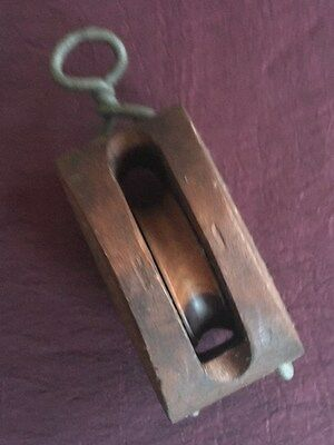 Antique or Vintage Single Block Wood Pulley Maritime Nautical Sailboat Collectib