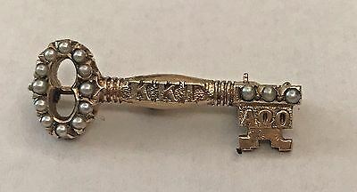 1949 Kappa Kappa Gamma 10K Gold Key Pin set with Seed Pearls 2.6 grams