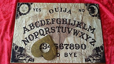 Wooden Ouija Board Parchment Skull & Planchette Instructions Ghost ESP