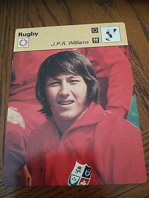 RUGBY UNION - JPR WILLIAMS / WALES / LIONS - Sportscaster Photo Fact Card