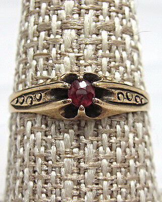 Antique Victorian 10k Rose Gold Etched Ruby Ring Size 7 3/4  BE400
