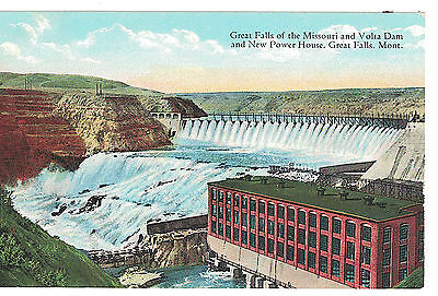 U.s.a. Postcard Montana Great Falls Of The Missouri And Volta Dam Great Falls