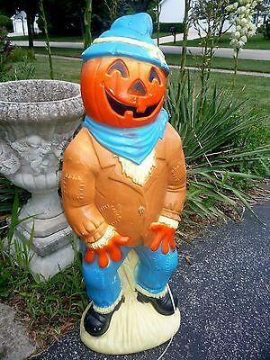 "Vintage Empire Halloween Pumpkin Head Scarecrow 34"" Lighted Blow Mold Decoration"