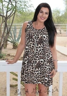 Plus Size Leopard Animal Print Tank Sleeveless Mini Dress Pockets Xl 1X 2X 3X