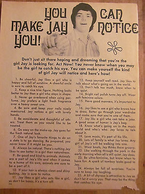 Jay Osmond, Osmonds, Brothers, Full Page Vintage Clipping