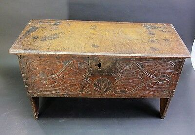 Very Fine MEDIEVAL 17th C. Carved Wood Dowry Chest  c. 1625   antique box