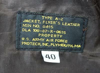 PROTECH TYPE A-2 FLYERS JACKET BROWN LEATHER BOMBER FLIGHT,40,MINTY,AAF,WW2,NRes