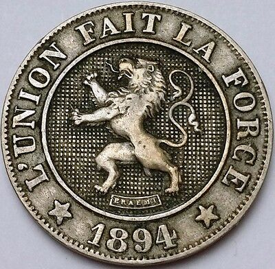 1894 Belgium 10 Centimes Coin KM# 42 - XF+ Condition