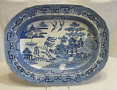 Antique Mid 19th Century White&Blue Willow Ironstone Large Deep Serving Platter