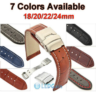 Mens Genuine Leather Watch Strap Band Croco Deployment Clasp Spring Bars US Ship