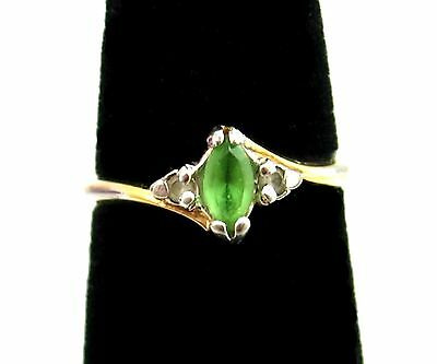 Marquise PERIDOT Green Clear Accent STONES Vintage RING 18K Gold Filled Size 4.5