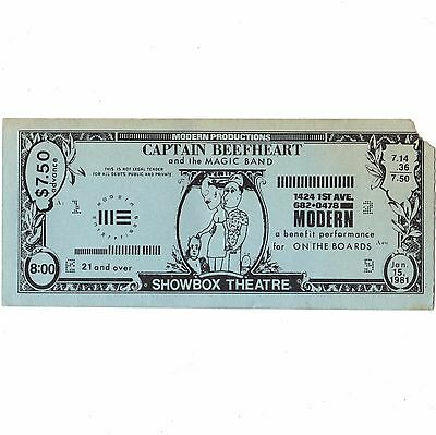 CAPTAIN BEEFHEART Concert Ticket Stub SEATTLE 1/15/81 SHOWBOX DON'S BIRTHDAY