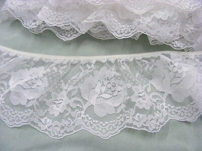 White Gathered  Lace x 5metres  90mm wide (020)