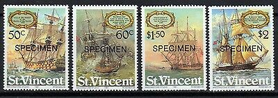 "St Vincent Sailing Ships Mnh Set With ""specimen"" Overprint (Sg#656-59)"