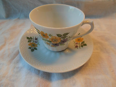 Vintage Inarco Japan Porcelain Cup & Saucer Yellow & Purple flowers Green Leaves