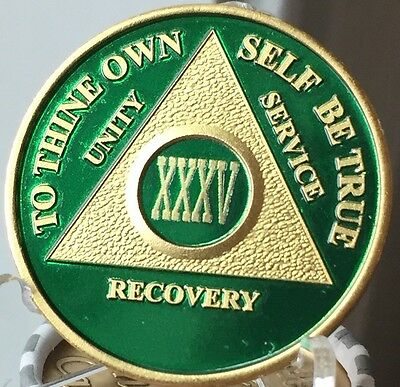 35 Year AA Medallion Green Gold Plated Alcoholics Anonymous Sobriety Chip Coin