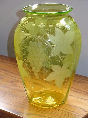 Antique Pairpoint Canaria Vaseline Glass Vase ~ Grapes & Leaves ~