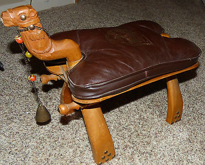 Vintage Carved Camel Leather Saddle Foot Stool Egyptian Theme Excellent Cond!