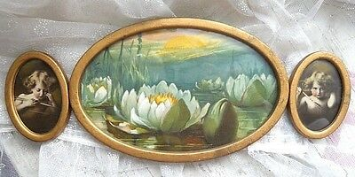 Antique Victorian CUPID ASLEEP CUPID AWAKE Triptych Picture Frame WATERLILIES