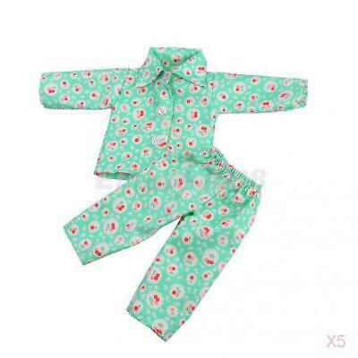 5x Pajamas Nightgown Sleepwear for 18'' American Journey Girl My Life Doll Green