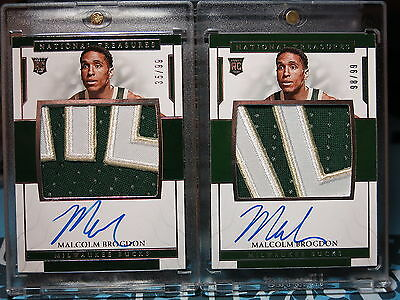 2016-17 National Treasures Malcolm Brogdon Rookie Patch Auto /99 Lot of 2 ROY RC