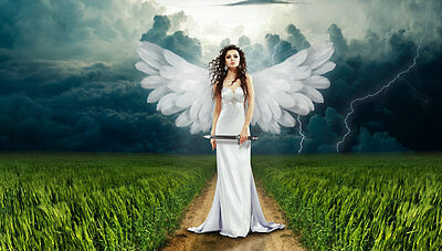 Home decor art wall Beautiful White angel Oil painting Picture Printed on canvas