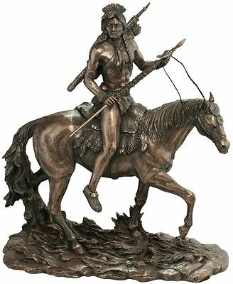 Indian Warrior Scout on Horseback Statue Proud Spirit of Horse & Rider Sculpture