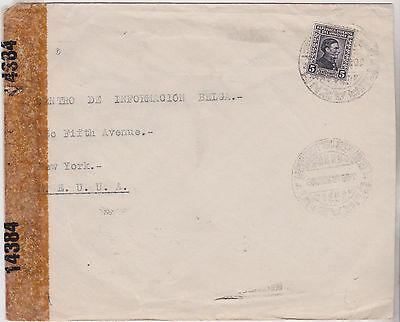1943 Attractive Uruguay Stamp On Censor Ww2 Era Cover Sent To New York Usa