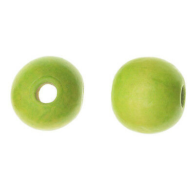 """Smooth Large Hole Painted Maple Wood Beads, Round 16mm, 16"""" Strand, Lime Green"""