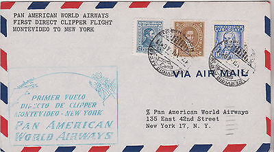 1946 Attractive Uruguay Stamps On Montevideo 1St Clipper Flight Cover To Ny Usa