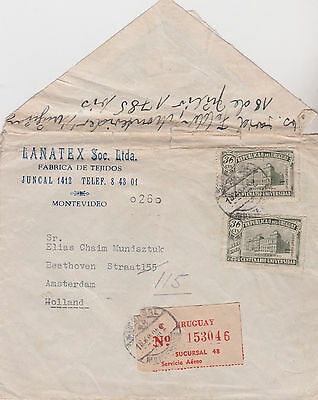 1949 Attractive Uruguay Stamps On Montevideo Cover Sent To Amsterdam Holland