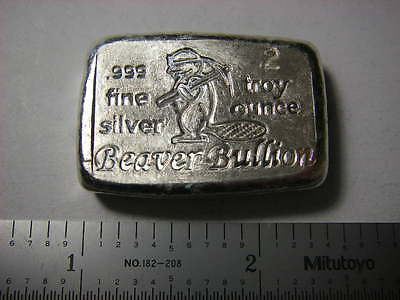 Canada's 150th  - Beaver Bullion hand poured 2 troy ounce 999 fine silver bar