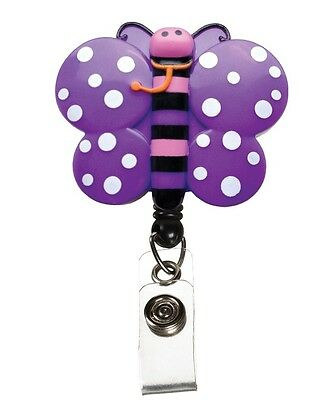 Retractable Purple Pink Butterfly Medical Badge Deluxe 3D ID Tag Clip Holder New