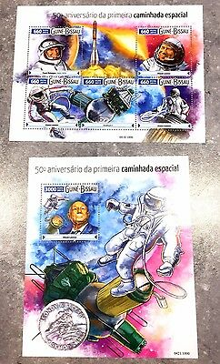 2 Guinea Sheet Perforated With Space And Astronauts