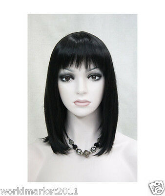 !Fashion Parting Fringe Kanekalon Lovely Black Middle Long Straight Women Wig