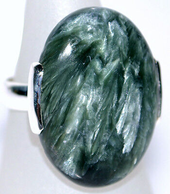 Sterling SILVER Ring 925 Real RARE Seraphinite Gemstone Rings Sizes 5½ L to 12 Y