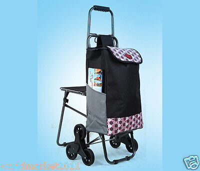 Pink Pattern Chair Six-Tire Convenient Collapsible Shopping Luggage Trolleys